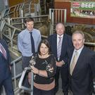 Pictured at the Dairygold Beef Expo in Corrin Mart, Fermoy on animal nutrition, health and live grading of cattle are speakers Liam O'Flaherty, Head of Agribusiness, Dairygold, Joe Burke, Bord Bia, Dr Doreen Corridan, Munster AI, Sean Coffey, CEO Kepak & Niall Griffey, Dairygold Beef Manager. Photo O'Gorman Photography.