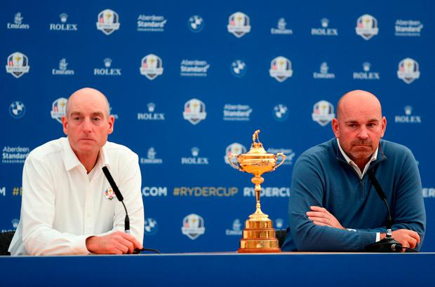 Team USA captain Jim Furyk and Team Europe captain Thomas Bjorn with the Ryder Cup during a press conference on preview day one of the Ryder Cup at Le Golf National, Saint-Quentin-en-Yvelines, Paris. PRESS ASSOCIATION Photo. Picture date: Monday September 24, 2018. David Davies/PA Wire.