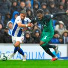 Soccer Football - Premier League - Brighton & Hove Albion v Tottenham Hotspur - The American Express Community Stadium, Brighton, Britain - September 22, 2018 Tottenham's Danny Rose in action with Brighton's Anthony Knockaert REUTERS/Dylan Martinez