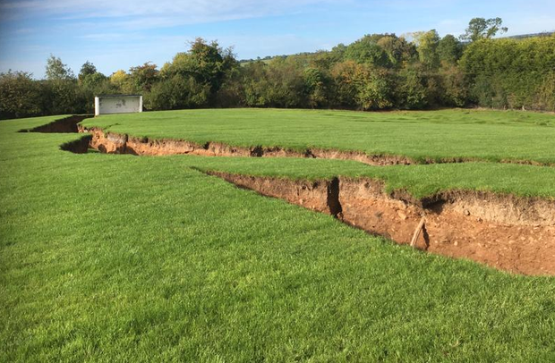 A sinkhole in the GAA grounds at Magheracloone, Co Monaghan. Photo: Border Region TV