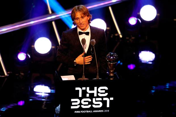 Luka Modric after winning the Best Men's Player award Action Images via Reuters  John Sibley
