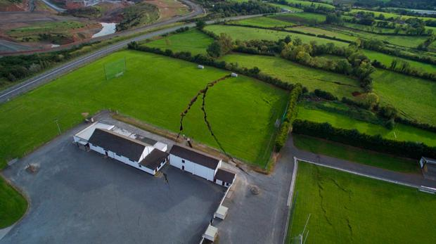 The extent of the Monaghan sinkhole is clear when viewed from the air. Photo: Lou Metzger
