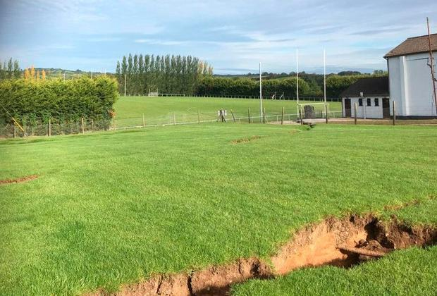 The ground opens up at the GAA pitch. Photo: Border Region TV