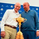 Friendly fire: USA captain Jim Furyk and his European counterpart Thomas Bjorn share a joke during yesterday's press conference ahead of the Ryder Cup. Photo: Eric Feferberg/AFP/Getty Images