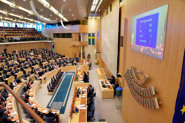 A general view of the confidence vote in Swedish parliament Riksdagen, where Lofven was ousted in no-confidence vote, in Stockholm, Sweden September 25, 2018. TT News Agency/Anders Wiklund via REUTERS