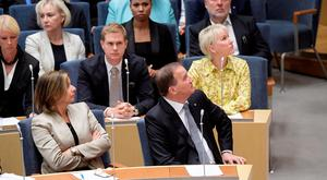 Swedish Prime Minister Stefan Lofven and deputy Prime Minister Isabella Lovin are seen in Swedish parliament Riksdagen, where Lofven was ousted in no-confidence vote, in Stockholm, Sweden September 25, 2018. TT News Agency/Anders Wiklund via REUTERS