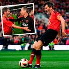Roy Keane missed his penalty in Liam Miller tribute match and (inset) with Denis Irwin