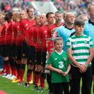 Belle, left and Korey Miller, children of Liam Miller at the Liam Miller Tribute match at Pairc Ui Chaoimh, Cork. Pic credit; Damien Eagers / INM