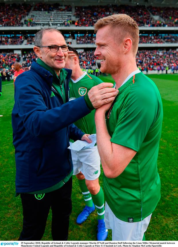 25 September 2018; Republic of Ireland & Celtic Legends manager Martin O'Neill and Damien Duff following the Liam Miller Memorial match between Manchester United Legends and Republic of Ireland & Celtic Legends at Páirc Uí Chaoimh in Cork. Photo by Stephen McCarthy/Sportsfile