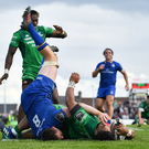 28 April 2018; Bundee Aki of Connacht scores his side's sixth try during the Guinness PRO14 Round 21 match between Connacht and Leinster at the Sportsground in Galway. Photo by Brendan Moran/Sportsfile