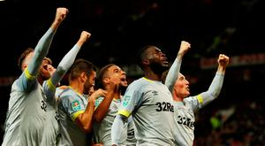 Soccer Football - Carabao Cup - Third Round - Manchester United v Derby County - Old Trafford, Manchester, Britain - September 25, 2018 Derby County players celebrate after Jack Marriott scores their second goal Action Images via Reuters/Andrew Boyers