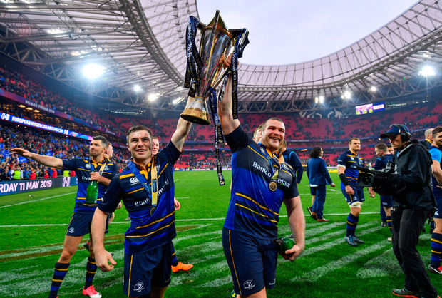 EURO STARS: Luke McGrath and Jack McGrath with the Champions Cup after Leinster's win in Bilbao in May. Pic: Sportsfile.