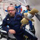 Spaced out: Dr Tony Robinson of TCD on the 'Vomit Comet'