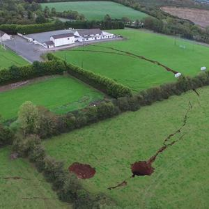 Collapse: A still image taken from drone footage of the sinkholes in Co Monaghan. Photo: LOU METZGER