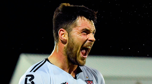 Patrick Hoban celebrates after scoring Dundalk's third goal against Derry City last night. Photo: Seb Daly/Sportsfile