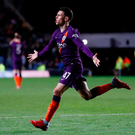 Manchester City's Phil Foden celebrates scoring their third goal. Photo: Reuters/Matthew Childs