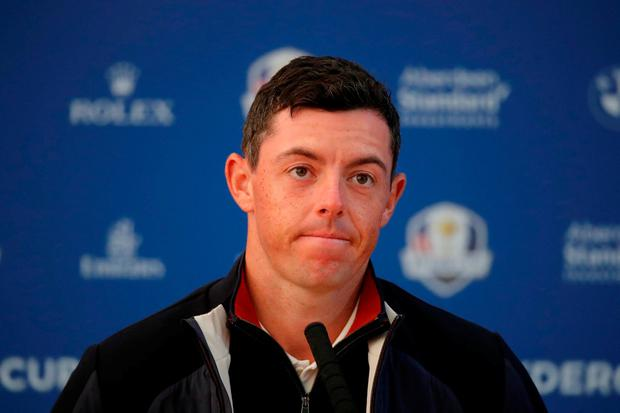 Team Europe's Rory McIlroy during a press conference. REUTERS/Charles Platiau