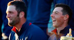 Team Europe's Rory McIlroy and Jon Rahm (left) during a Photocall on preview day two of the Ryder Cup at Le Golf National