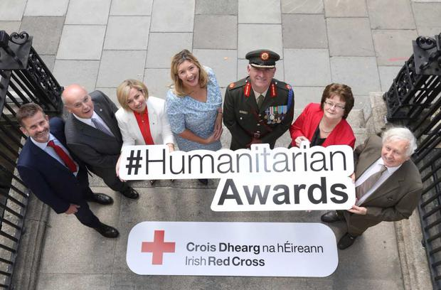 At the launch for the Irish Red Cross Humanitarian Awards were; Liam O'Brien, Director of Strategy & External Affairs Vodafone, Pat Carey, Chairman Irish Red Cross, Tara Justin, Irish Red Cross, Mary Rose Burke, CEO Dublin Chamber, Peter O'Halloran, Brigadier General Irish Defence Forces, Hannah McGee, Dean & Chief Academic Officer at RCSI and Dr Niall Holohan, Chairman of the Arab Irish Chamber of Commerce.