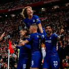 Soccer Football - Carabao Cup - Third Round - Liverpool v Chelsea - Anfield, Liverpool, Britain - September 26, 2018 Chelsea's Eden Hazard celebrates with team mates after scoring their second goal Action Images via Reuters/Lee Smith