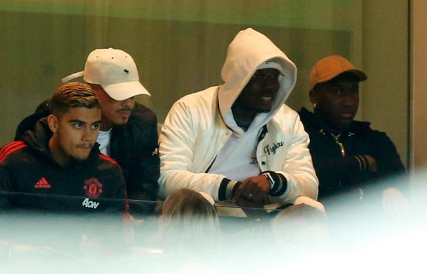 Pogba watches the defeat to Derby from the stands. Photo: REUTERS