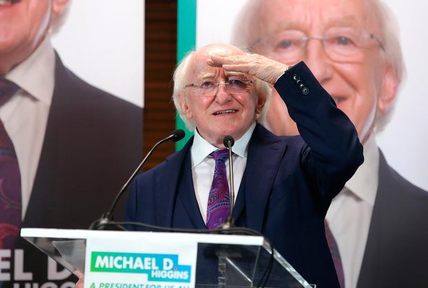 Michael D Higgins speaks at the start of his presidential election campaign in Dublin. Photo: Damien Eagers