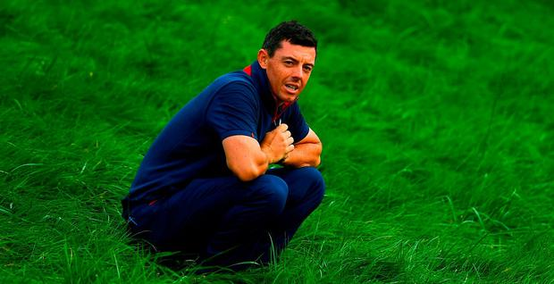 Rory McIlroy of Europe looks for his ball on the 6th hole during his Fourball Match against Dustin Johnson and Rickie Fowler of USA during the Ryder Cup 2018 Matches at Le Golf National in Paris, France. Photo by Ramsey Cardy/Sportsfile