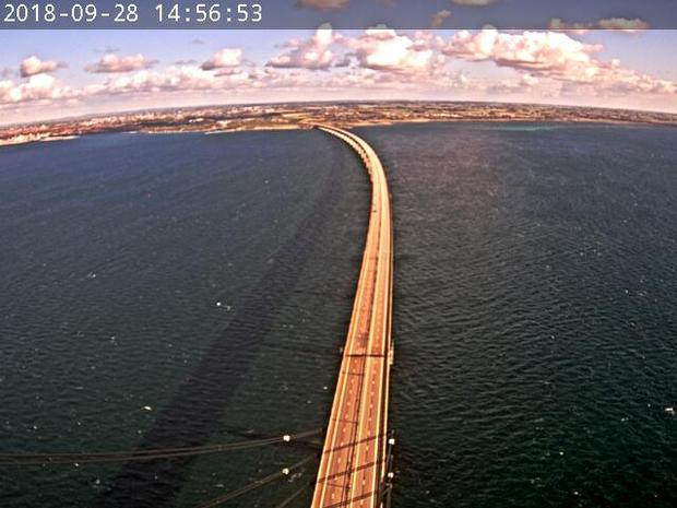 View from the webcam of the Oresund Bridge