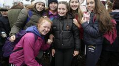 Aoife Killeen, Aoibheann o'loughlin, Izzy Coffey, Robin O'Neill, Kathlyn O'Halloran and Laura Cramody, from Clare at the ploughing championships at Screggan, Co. Offaly. Pic credit; Damien Eagers.