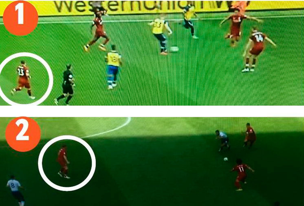 1: Southampton attack down their left wing with Xherdan Shaqiri (circled) out of his right midfield position leaving Liverpool exposed 2: James Milner (circled) blocks the passing lane through to Harry Winks, causing Mousa Dembele to hesitate and be dispossessed