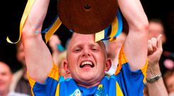 Wicklow captain Tommy Gill lifts the 2007 Tommy Murphy Cup, the old competition for minnows who had exited the championship at the first hurdle. Photo: Brian Lawless/Sportsfile