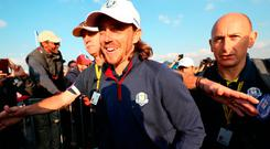 Team Europe's Tommy Fleetwood celebrates