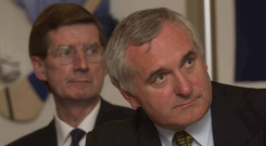 Bertie Ahern and then Dublin County Board chairman John Bailey at the launch of the Friends of Dublin campaign in the Gresham Hotel in April 2003. Photo: Sportsfile