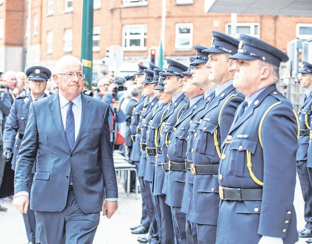 Report: Justice Minister Charlie Flanagan at the opening of the new Kevin Street garda station. Photo: Mark Condren