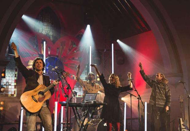 Seamus Fogarty performing with his band at St. Michael's Church for Other Voices, Ballina