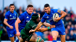 Rob Kearney of Leinster is tackled by Ultan Dillane of Connacht during the Guinness PRO14 Round 5 match between Connacht and Leinster at The Sportsground in Galway.