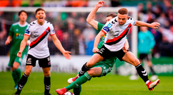 Keith Ward of Bohemians in action against Garry Buckley of Cork City during following the Irish Daily Mail FAI Cup Semi-Final match between Bohemians and Cork City at Dalymount Park in Dublin.