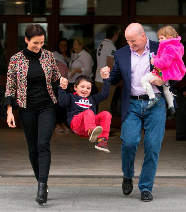 Sean Gallagher with his wife Trish and children Lucy (2) and Bobby (5) at the Pregnancy and Baby Fair at the RDS. Photo: Collins