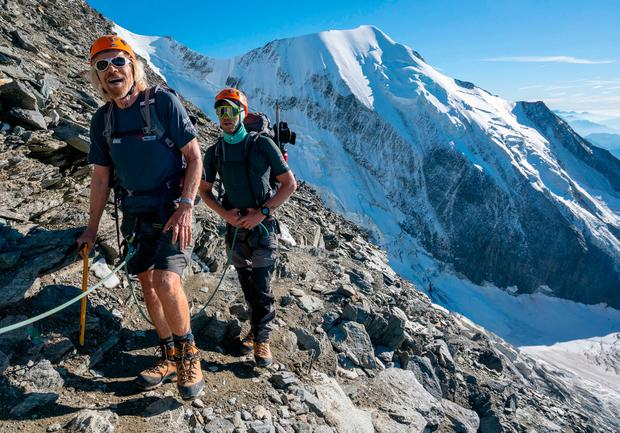 Emotional experience: Richard Branson and his son Sam Branson (right) during their climb of Mont Blanc in the Alps. Photo: PA