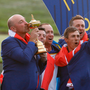GREAT DANE: Europe captain thomas Bjorn kisses the Ryder Cup after his side claimed victory in Paris yesterday. Pic: Reuters