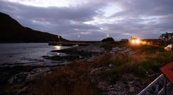 Tragedy: The scene at Coonanna Harbour where three anglers died yesterday. Photo: Don MacMonagle