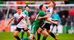Garry Buckley and Keith Ward clash during the FAI Cup semi-final at Dalymount Park. Photo: Stephen McCarthy/Sportsfile