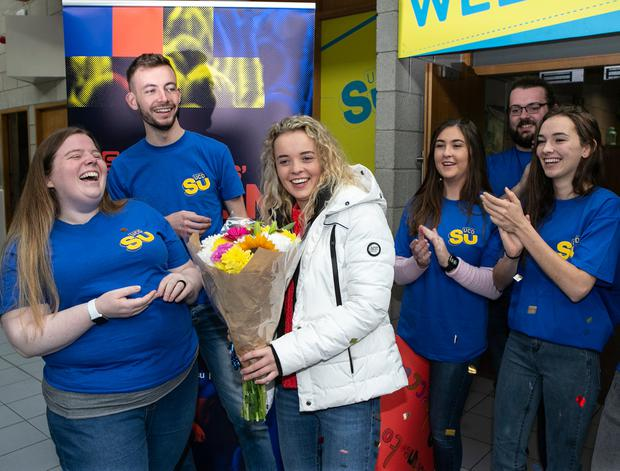 Rebecca Carter pictured in UCD on her first day of her Vetinary Course ,with Students Union President Barry Murphy and UCD Students Union Welfare Officer Melissa Plunkett. Photo: Kyran O'Brien