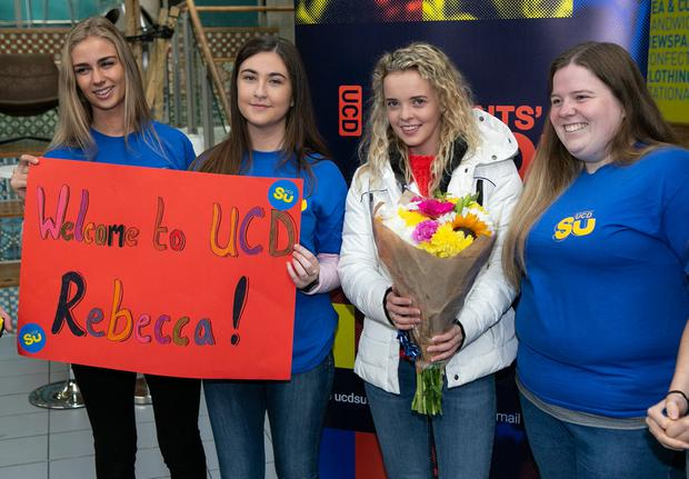 Rebecca Carter pictured in UCD on her first day of her Vetinary Course ,with new class mates Caitlin Frawley (20) and Aoife Hynes (19) and UCD Students Union Welfare Officer Melissa Plunkett. Photo: Kyran O'Brien