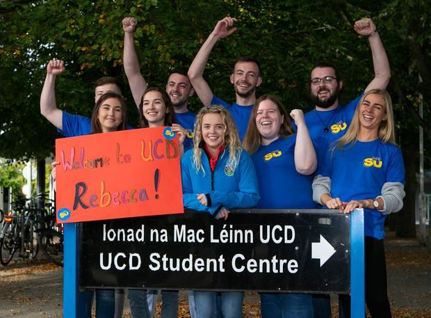 Rebecca Carter pictured in UCD on her first day of her Vetinary Course ,with new class and members of the UCD Students Union. Photo: Kyran O'Brien