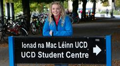 Rebecca Carter pictured in UCD on her first day of her Vetinary Course. Photo: Kyran O'Brien