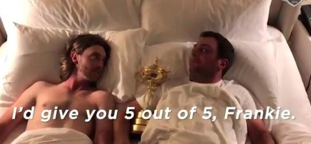 A screengrab of the video posted by the European Ryder Cup team with the trophy between Tommy Fleetwood (left) and Francesco Molinari, who won five points for Thomas Bjorn's team