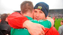 James Horan embraces Aidan O'Shea after Mayo's victory in the 2011 Connacht final – O'Shea is one of several vastly experienced players still in the squad. Photo: David Maher/SPORTSFILE