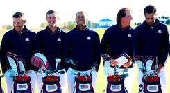 Team USA's (left-right): Brooks Koepka, Bryson Decahmbeau, Tiger Woods, Phil Mickelson and Tony Finau. Photo: PA