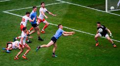 Con O'Callaghan plays a handpass to set up Niall Scully for Dublin's second goal against Tyrone in the All-Ireland SFC final. Under the new rule proposals, only three handpasses will be permitted consecutively. Photo by Daire Brennan/Sportsfile